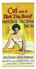 Vintage Classic Movie Posters, Cat On A Hot Tin Roof Beach Towel