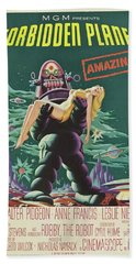 Vintage Classic Movie Posters, Forbidden Planet Beach Towel