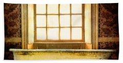 Vintage Clawfoot Bathtub By Window Beach Sheet