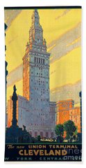 Vintage Cleveland Travel Poster Beach Sheet