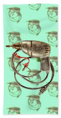Beach Sheet featuring the photograph Vintage Drill Motor Green Trigger Pattern by YoPedro
