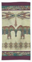 Beach Sheet featuring the painting Vintage Elephants Kashmir Paisley Shawl Pattern Artwork by Audrey Jeanne Roberts