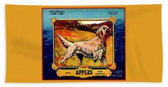 Vintage English Setter Apples Advertisement Beach Towel