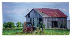 Beach Towel featuring the photograph Vintage Farm Find by Mary Timman