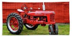 Vintage Farmall Tractor With Barnwood Beach Towel