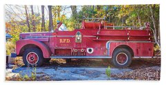 Beach Towel featuring the photograph Vintage Fire Truck South Weare New Hampshire by Edward Fielding