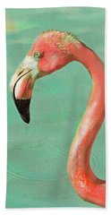 Beach Towel featuring the digital art Vintage Flamingo by Jane Schnetlage