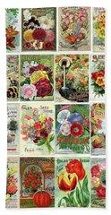 Vintage Flower Seed Packets 1 Beach Sheet