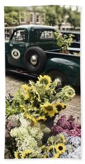 Vintage Flower Truck-nantucket Beach Sheet