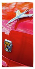 Beach Towel featuring the photograph Vintage Ford Hood Ornament Havana Cuba by Charles Harden