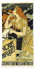 Vintage French Advertising Art Nouveau Encre L'marquet Beach Towel