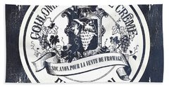 Vintage French Cheese Label 2 Beach Towel