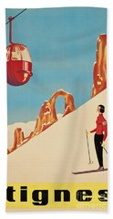 Vintage French Skiing Beach Towel