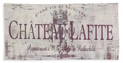 Vintage French Wine Sign Beach Towel