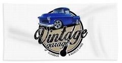 Vintage Garage With Stepside Beach Towel