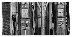 Vintage Gas Station Bw Beach Sheet
