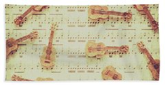 Vintage Guitar Music Beach Towel