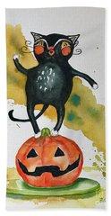 Vintage Halloween Cat Beach Towel