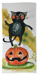 Vintage Halloween Cat Beach Sheet