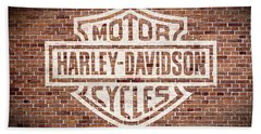 Vintage Harley Davidson Logo Painted On Old Brick Wall Beach Towel