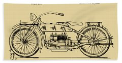 Vintage Harley-davidson Motorcycle 1919 Patent Artwork Beach Towel