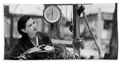 Vintage Holiday Card   Woman Weighing A Turkey Ahead Of The Holidays Beach Sheet by American School