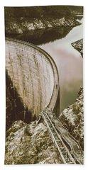Vintage Hydro-electric Dam Beach Towel