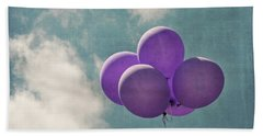 Vintage Inspired Purple Balloons In Blue Sky Beach Towel