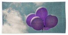 Vintage Inspired Purple Balloons In Blue Sky Beach Towel by Brooke T Ryan