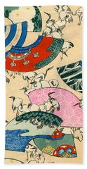 Vintage Japanese Illustration Of Fans And Cranes Beach Towel