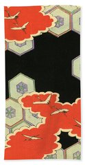 Vintage Japanese Illustration Of Red Clouds And Flying Cranes In An Abstract Landscape Beach Towel