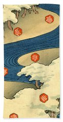 Vintage Japaneses Illustration Of Falling Snowflakes In An Abstract Winter Landscape Beach Towel