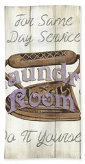 Beach Towel featuring the painting Vintage Laundry Room 1 by Debbie DeWitt