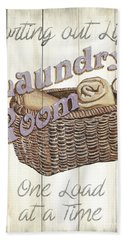 Beach Towel featuring the painting Vintage Laundry Room 2 by Debbie DeWitt