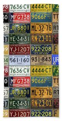 Vintage License Plates From Michigan's Rich Automotive Past Beach Towel by Design Turnpike