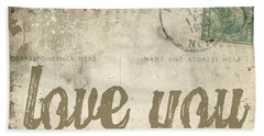 Vintage Love Letters Beach Sheet