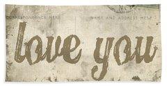 Vintage Love Letters Beach Sheet