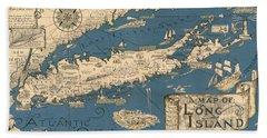 Vintage Map Of Long Island Beach Towel by James Kirkikis