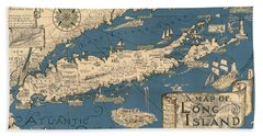 Vintage Map Of Long Island Beach Sheet by James Kirkikis