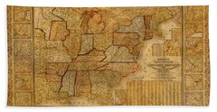 Vintage Map Of The United States Of America Usa Circa 1845 On Worn Distressed Parchment Beach Towel