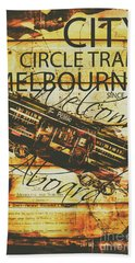 Vintage Melbourne Tram Tin Sign Beach Towel