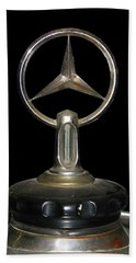 Beach Towel featuring the photograph Vintage Mercedes Radiator Cap by David and Carol Kelly