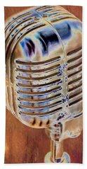 Vintage Microphone Beach Towel by Pamela Williams