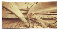 Vintage Nautical Sailing Typography In Sepia Beach Towel