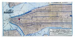 Vintage New York Map Beach Towel