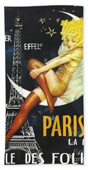 Vintage Paris Moon Beach Towel