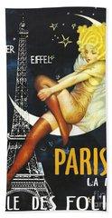 Vintage Paris Moon Beach Towel by Mindy Sommers