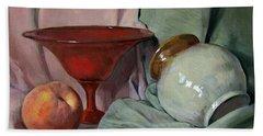 Vintage Pedestal Bowl And Peach Beach Towel
