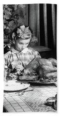Vintage Photo Depicting Thanksgiving Dinner Beach Towel by American School