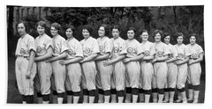 Vintage Photo Of Women's Baseball Team Beach Towel by American School
